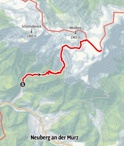 Map / Schneealpenhaus von Neuberg über Karlgraben