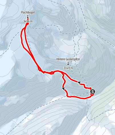 Map / Fluchtkogel from Hochjoch-Hospitz