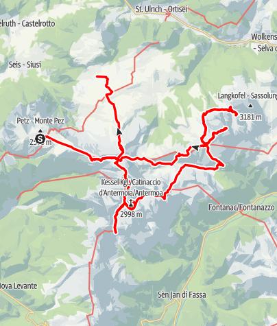 Karte / Hütten- und Klettersteigtour Rosengarten