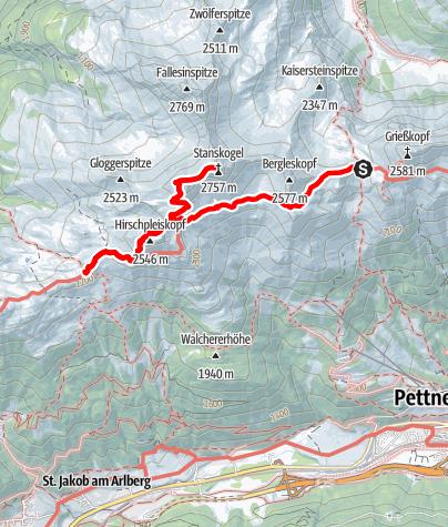 Karte / 02 Zondag: Kaiserjochhütte - Leutkircherhütte