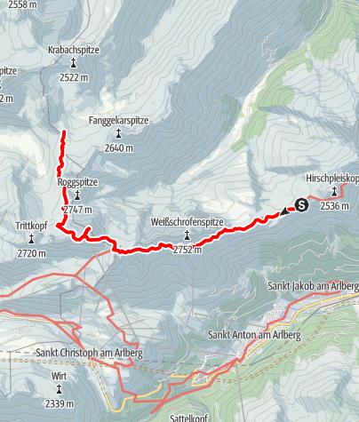 Karte / 03b Maandag: Leutkircherhütte - Stuttgarterhútte