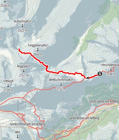Karte / 03a Maandag: Leutkircherhütte - Stuttgarterhútte