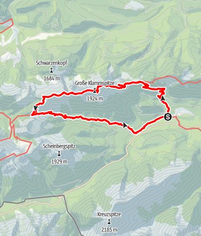 Map / Linderhof - Brunnenkopf - Große Klammspitze - Feigenkopf - Sägertal - Linderhof