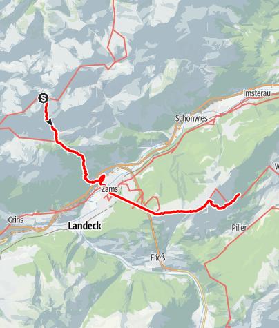Karte / E5 Oberstdorf-Meran auf Abwegen - Tag 3: Württemberger Haus - Zams - Galflun Alm - Larcher Alm