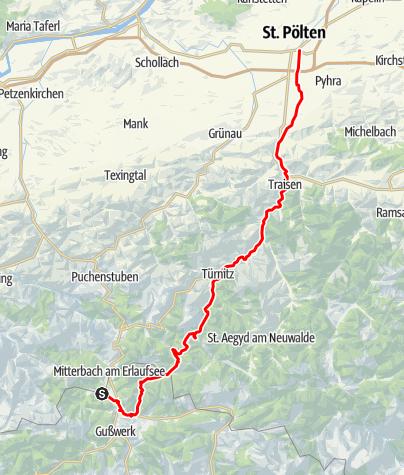 Karte / Erlaufsee nach St.Pölten