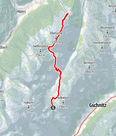 Map / 2016 Dag 6: Insbrücker Hütte - Elferbahn