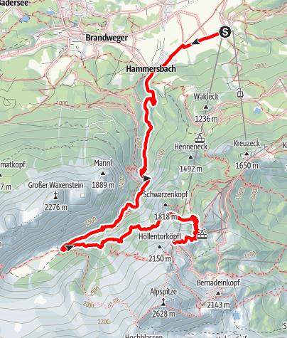 Map / Parkplatz Talstation Alpspitzbahn - Höllentalangerhütte - Hupfleitenjoch - Osterfelderkopf