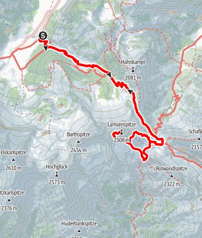 Karte / Lamsenspitze über Brudertunnel-Klettersteig