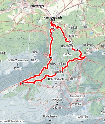 Karte / Hammersbach-Hupfleitenjoch-Hammersbach