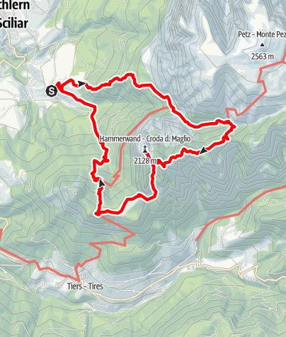 Karte / Von Ums (Völs am Schlern) zur Sesselschwaige, weiter über den Niggelberg zur Hammerwand, dann zur Tschafonschwaige und zurück nach Ums