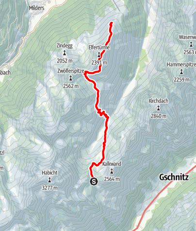 Map / Innsbrucker Hütte - Karalm - Elferspitze - Elferhütte