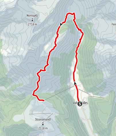 Karte / Von Vals zur Fanealm und zur Jochtalbahn