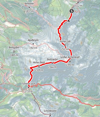 Map / Hüttentour Berchtesgaden - Etappe 2: Purtschellerhaus - Hoher Göll - Carl-von-Stahl-Haus