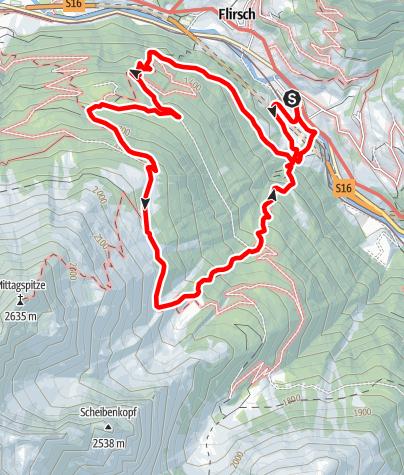 Karte / Von Flirsch zur Ganatsch Alm, zurück über das Mösli nach Flirsch