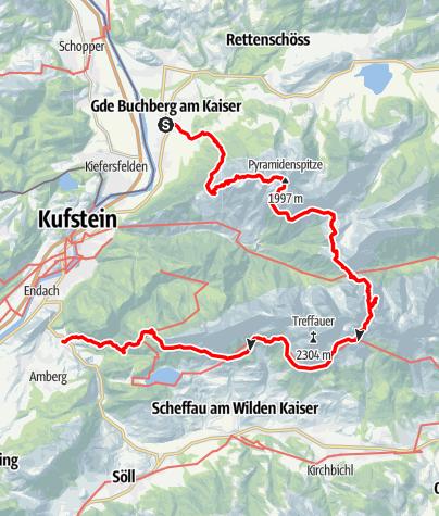 Karte / Kaisertour: 4-Tages-Hüttentour durchs Kaisergebirge