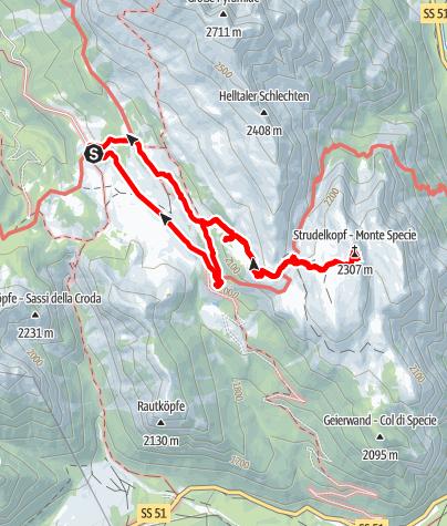Karte / 2. Etappe Strudelkopf