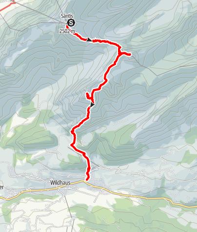 Karte / Tourenplanung Säntis am 4. September 2016