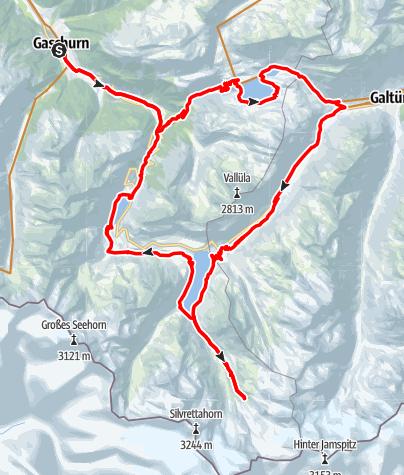 Karte / Silvretta Tour mit Wiesbadener Hütte