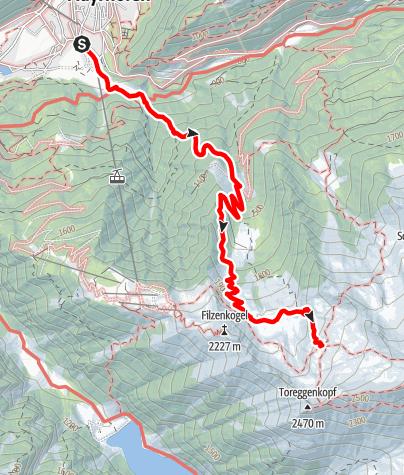Karte / Karl-von-Edel-Hütte - Zustieg von Mayrhofen über die Wirtschaft Alpenrose