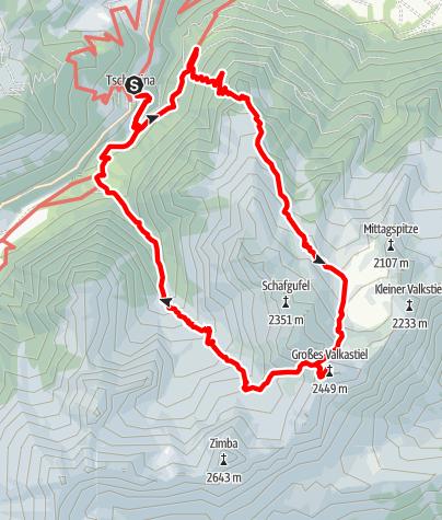 Karte / Großer Valkastiel von Tschapina: lange, einsame Runde