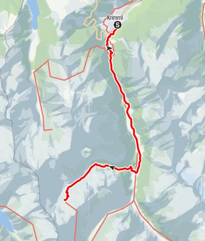 Karte / Richterhütte, von Krimml über das Krimmler Tauernhaus