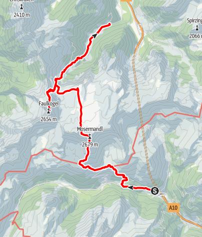 Karte / Tauerntunnelüberschreitung über Mosermandl und Faulkogel