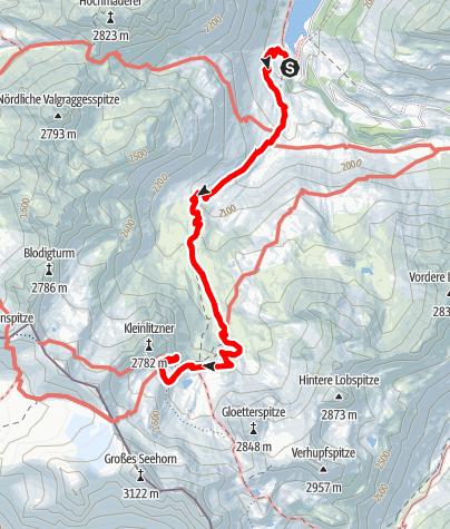Karte / Vermunt Stausee zur Saarbrücker Hütte