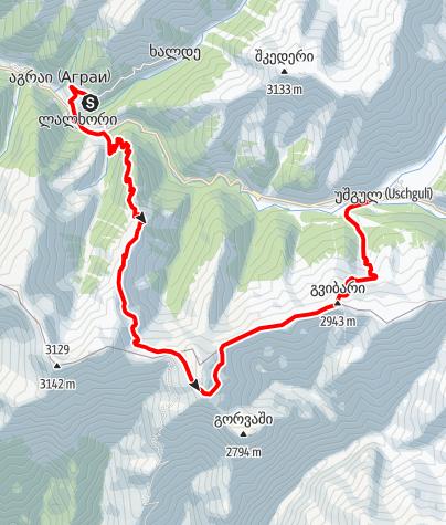 Map / Georgia-Iprali-Ushguli-rightside trek