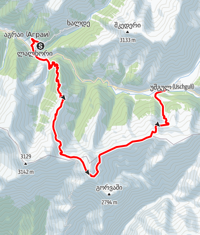 Map / Georgia-Iprali-Ushguli-rightside trek