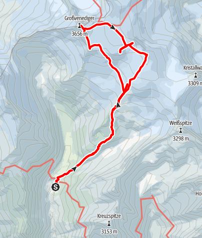 Karte / Großvenediger - Zustieg von der Johannishütte