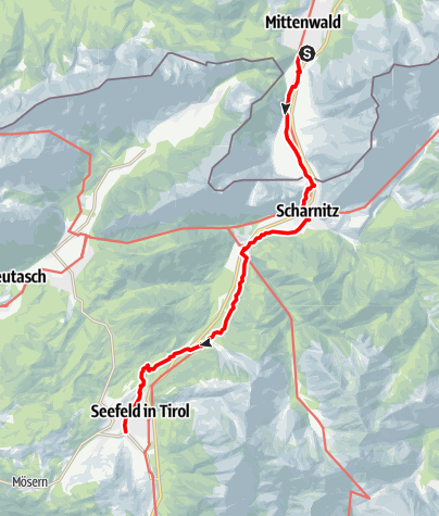 Karte / Wanderung über die Alpen auf und neben dem Goetheweg,1. Tag