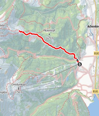 Karte / Seewaldhütte - Zustieg von Achenkirch über Bründlalm und Jochalm