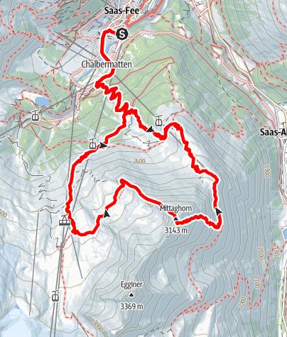 Karte / Saas Fee - Mittaghorn 3143m - und zurück