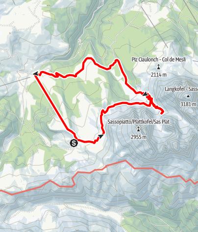 Karte / From Berghaus Zallinger to Langkofelhütte