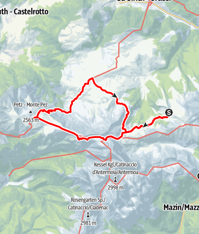 Karte / From Berghaus Zallinger to Refugio Bolzano