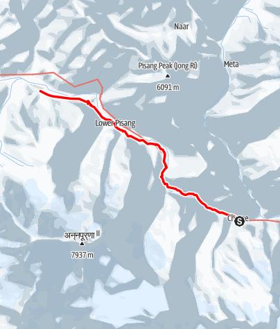Map / Annapurna circuit - Chame-Pisang-Humde