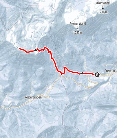 Karte / Rax-Tour: Aus der Prein auf die Heukuppe