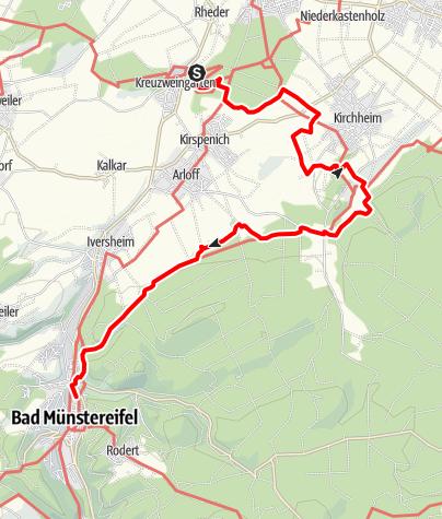 Karte / NE - Von Kreuzweingarten nach Bad Münstereifel - Auf Seitenwegen durch das Tal der Erft und zur Steinbachtalsperre 15,3 km - 382 m Anstieg - 320 m Abstieg