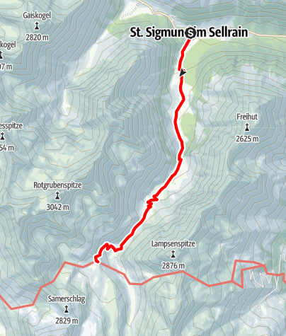 Karte / Pforzheimer Hütte - Zustieg von St. Sigmund über die Gleirschalm