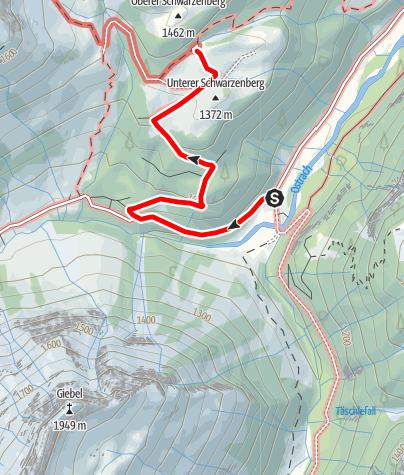 Karte / 6b Giebelhaus-Schwarzenberghütte