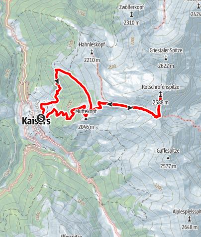 Karte / Von Kaisers auf die Rotschrofenspitze