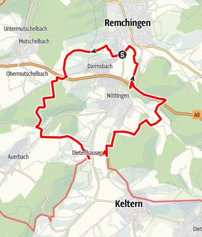 Karte / Rund um Nöttingen - Tour 1