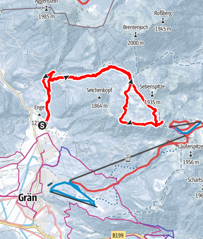 Karte / Sefenspitze und Lumberger Grat