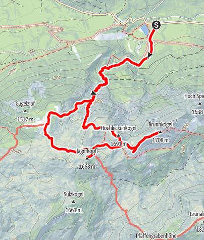 Karte / Brunnkogel 1708m, Gipfelrunde im Höllengebirge