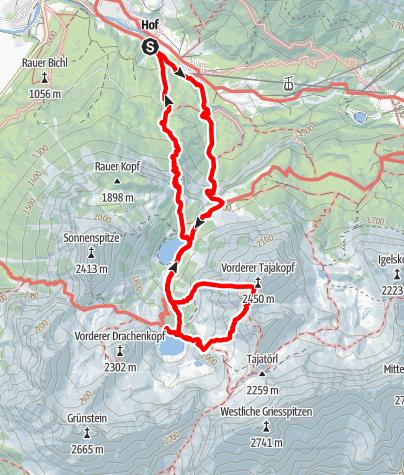 Karte / Ehrwald - Seeben Alm - Tajakante - Vorderer Tajakopf - Coburger Hütte - Ehrwald