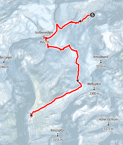 Map / Skihochtour über 6 Gipfel am Großvenediger von Neuen Prager Hütte