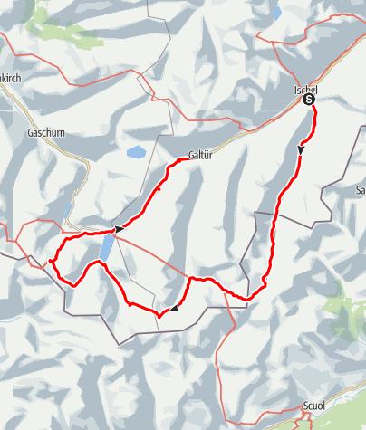 Karte / Silvrettarunde mit Besteigung Piz Buin