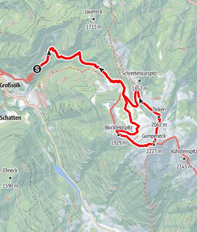 Karte / Gumpeneck und Zinken 2042m in den Wölzer Tauern