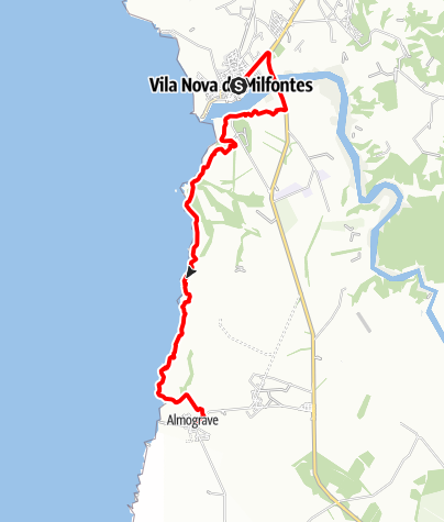 Karte / Felix' Fischerpfad - Etappe 2: Vila Nova de Milfontes > Almograve