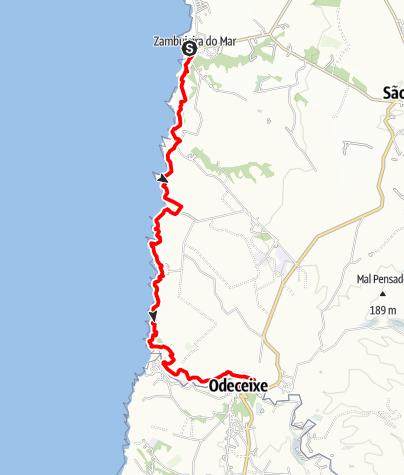 Karte / Felix' Fischerpfad - Etappe 4: Zambujeira do Mar > Odeceixe